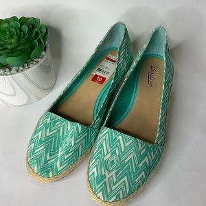 Lucky Brand teal patterned espardrilles, NEW